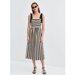Zara Linen Blend Striped Midi Dress with Pockets